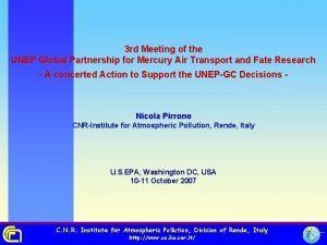 3 rd Meeting of the UNEP Global Partnership