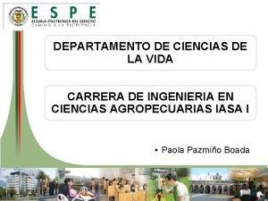 DEPARTAMENTO DE CIENCIAS DE LA VIDA CARRERA DE