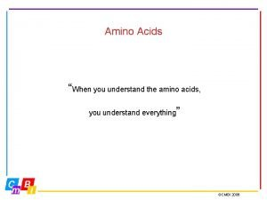 Amino Acids When you understand the amino acids