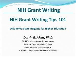 NIH Grant Writing Tips 101 Oklahoma State Regents