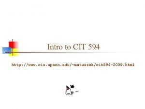 Intro to CIT 594 http www cis upenn