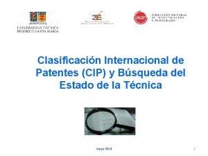 Clasificacin Internacional de Patentes CIP y Bsqueda del