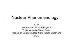Nuclear Phenomenology 3 C 24 Nuclear and Particle