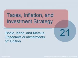 Taxes Inflation and Investment Strategy Bodie Kane and