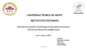 UNIVERSIDAD TECNICA DEL NORTE INSTITUTO DE POSTGRADO MAESTRIA