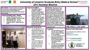 Sam Sauerwein Arjun Patel University of Limerick Graduate