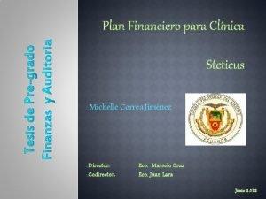 Plan Financiero para Clnica Steticus o Michelle Correa