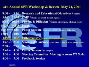 1 3 rd Annual SFR Workshop Review May