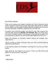 Dear ParentsCaregivers Thank you for expressing an interest