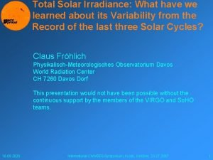 Total Solar Irradiance What have we learned about
