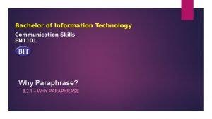 Why Paraphrase 8 2 1 WHY PARAPHRASE Paraphrasing
