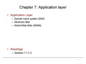 Chapter 7 Application layer Application Layer Domain name