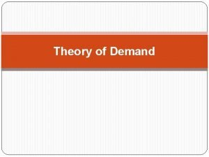 Theory of Demand Contents Meaning of Demand Determinants