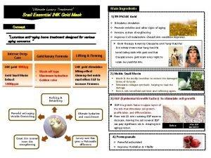 Ultimate Luxury Treatment Main Ingredients Snail Essential 24
