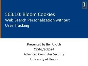 563 10 Bloom Cookies Web Search Personalization without