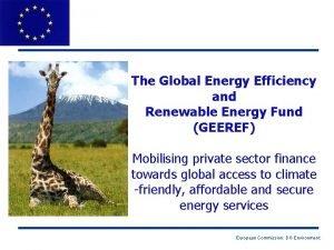 The Global Energy Efficiency and Renewable Energy Fund