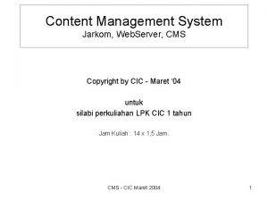 Content Management System Jarkom Web Server CMS Copyright