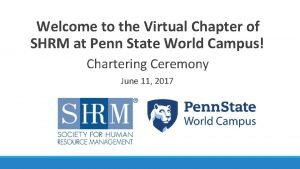 Welcome to the Virtual Chapter of SHRM at