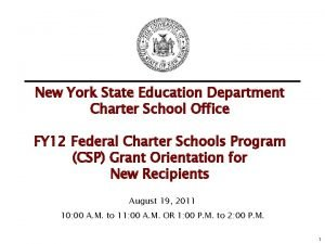 New York State Education Department Charter School Office