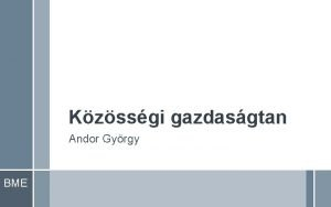 Kzssgi gazdasgtan Andor Gyrgy BME Elsz Kzssgi gazdasgtan