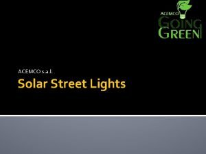 ACEMCO s a l Solar Street Lights ACEMCO
