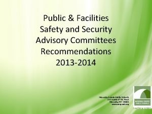 Public Facilities Safety and Security Advisory Committees Recommendations