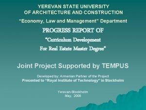 YEREVAN STATE UNIVERSITY OF ARCHITECTURE AND CONSTRUCTION Economy