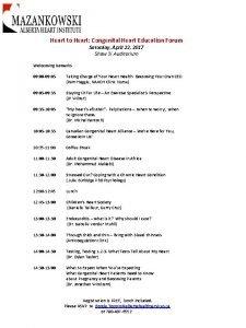 Heart to Heart Congenital Heart Education Forum Welcoming