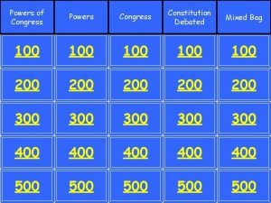 Powers of Congress Powers Congress Constitution Debated Mixed