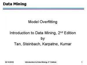 Data Mining Model Overfitting Introduction to Data Mining