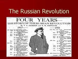 The Russian Revolution PreRevolution Russian Government n Czar
