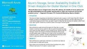 Microsoft Azure CASE STUDY Azures Storage Server Availability