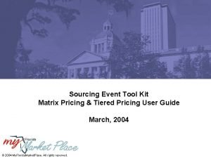 Sourcing Event Tool Kit Matrix Pricing Tiered Pricing