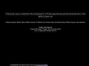 Podocyte injury underlies the progression of focal segmental