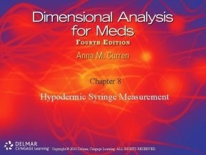 Chapter 8 Hypodermic Syringe Measurement Copyright 2010 Delmar