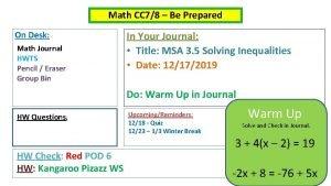 Math CC 78 Be Prepared On Desk Math