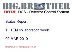 Status Report TOTEM collaboration week 09 MAR2010 fernando
