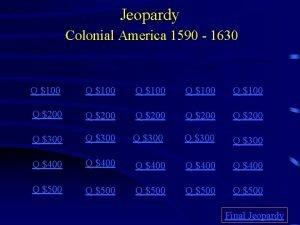 Jeopardy Colonial America 1590 1630 Jamestown European Colonies