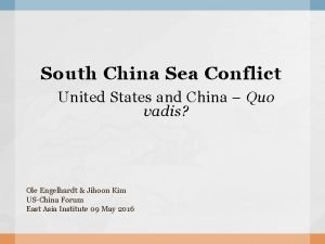 South China Sea Conflict United States and China