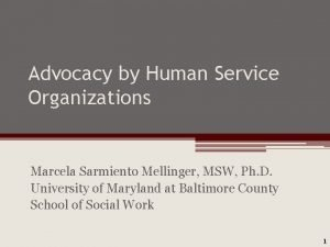 Advocacy by Human Service Organizations Marcela Sarmiento Mellinger