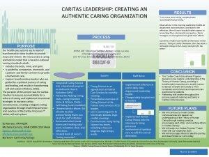 CARITAS LEADERSHIP CREATING AN AUTHENTIC CARING ORGANIZATION PURPOSE