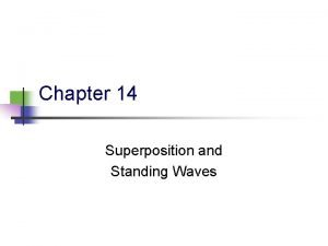 Chapter 14 Superposition and Standing Waves Waves vs