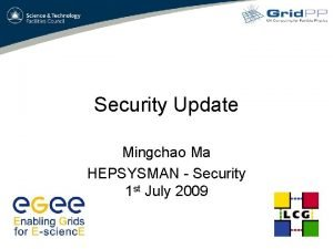 Security Update Mingchao Ma HEPSYSMAN Security 1 st