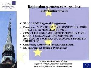 Regionalna partnerstva za gradove interkulturalnosti EU CARDS Regional