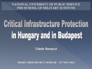 NATIONAL UNIVERSITY OF PUBLIC SERVICE PHD SCHOOL OF