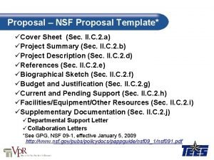 Proposal NSF Proposal Template Cover Sheet Sec II