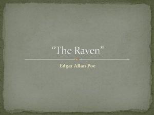 The Raven Edgar Allan Poe Author Edgar Allan