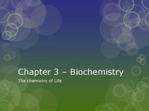 Chapter 3 Biochemistry The chemistry of Life AP