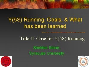 Y5 S Running Goals What has been learned