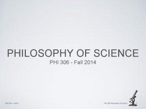 PHILOSOPHY OF SCIENCE PHI 306 Fall 2014 Garns